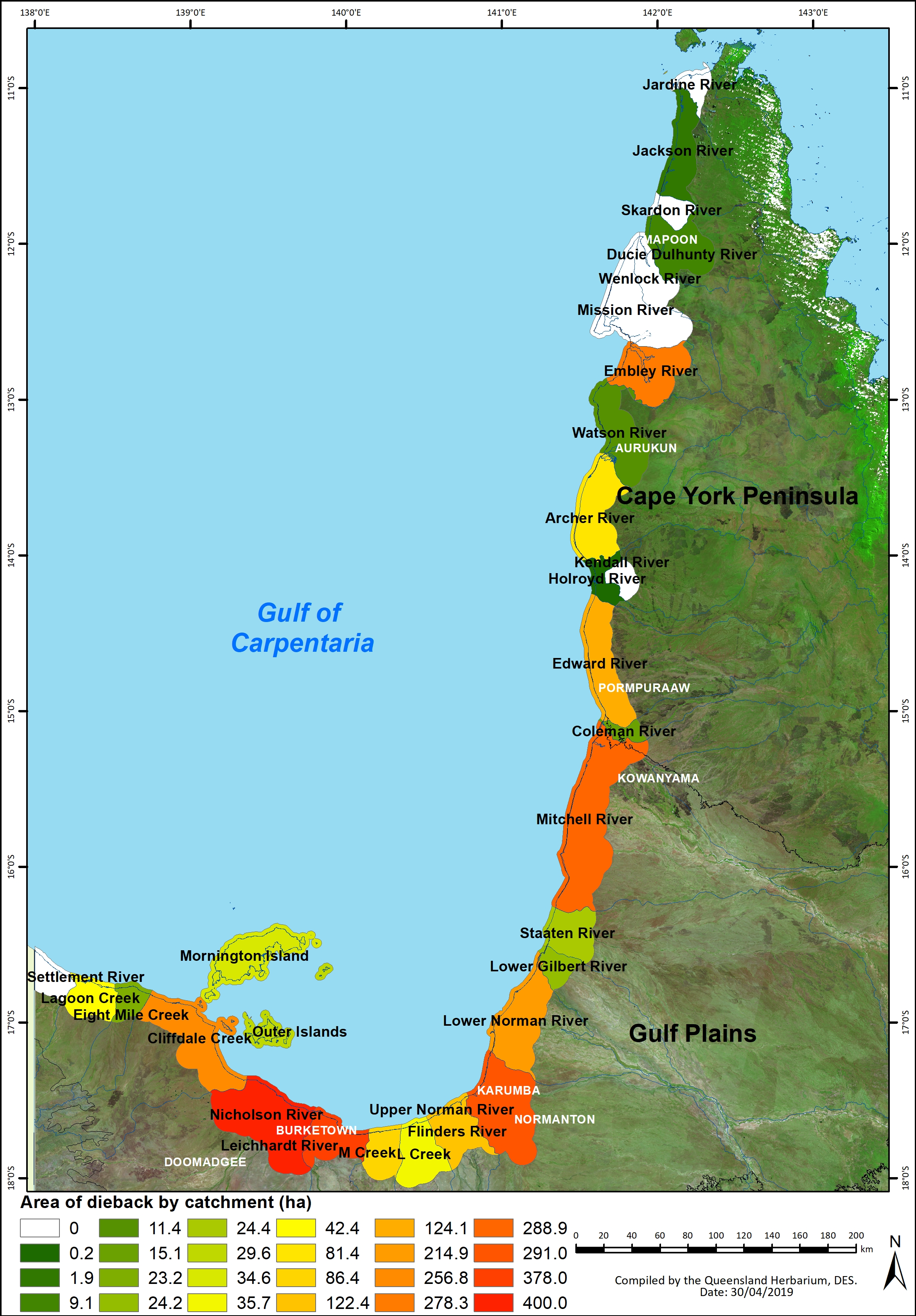 Catchments in the Gulf of Carpentaria assessed for dieback
