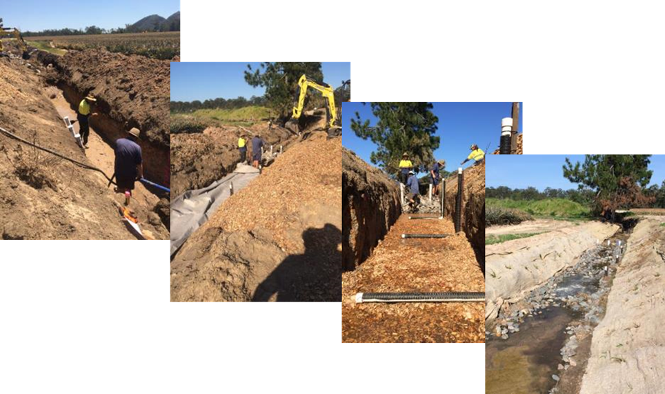 Construction of a bioreactor bed in a drain. Photo by Queensland Government