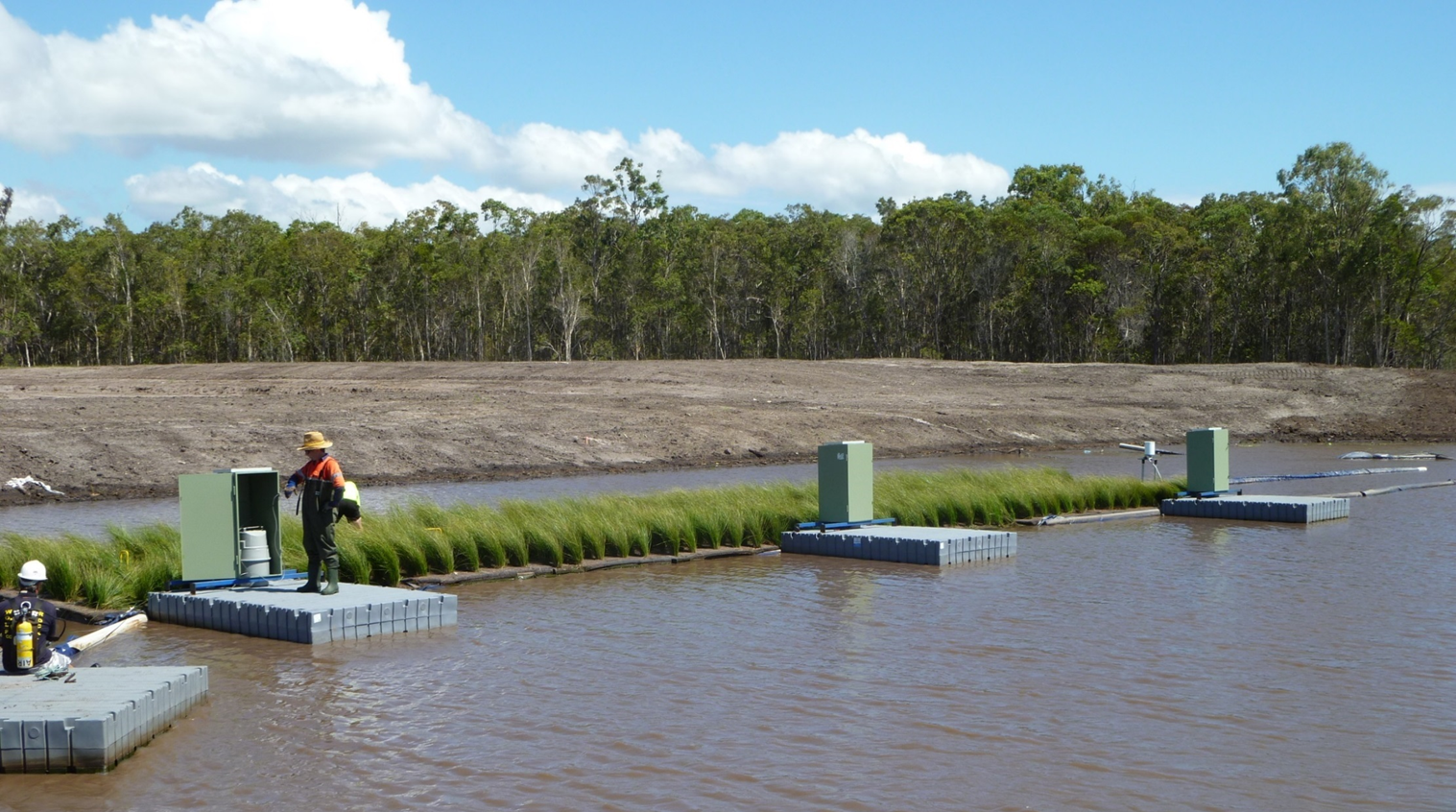 Floating wetland with water quality samplers. Photo by SPEL